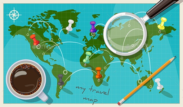 Vector World Map of Travel - Travel Conceptual
