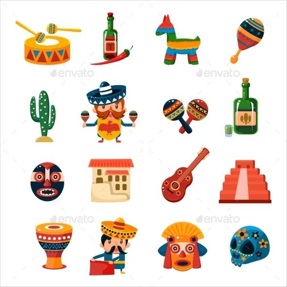 Traditional Mexican Symbols Collection - Decorative Symbols Decorative