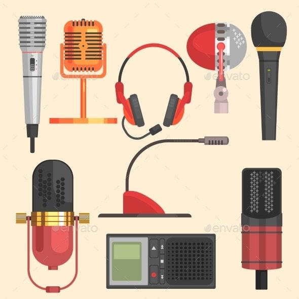 Microphone Vector Illustration Set - Decorative Symbols Decorative