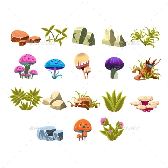 Video Game Lanscaping Collection - Flowers & Plants Nature
