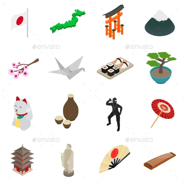 Japan Isometric 3D Icons - Miscellaneous Icons