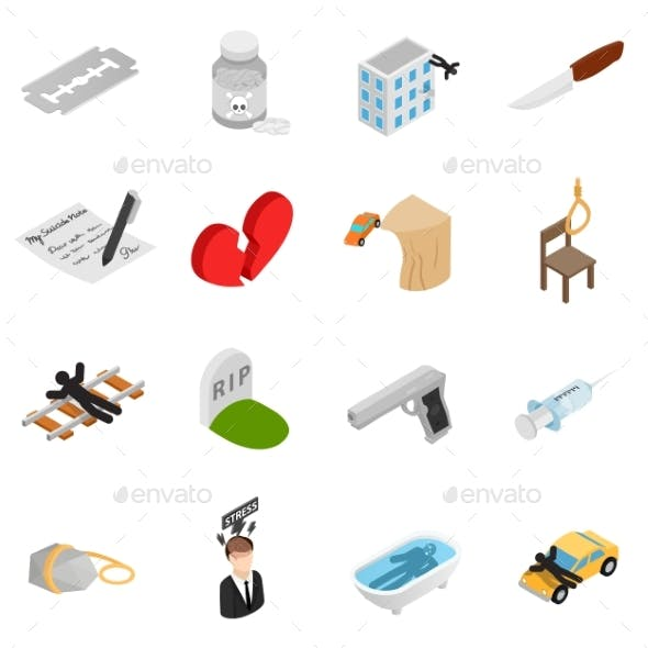Suicide Isometric 3D Icons