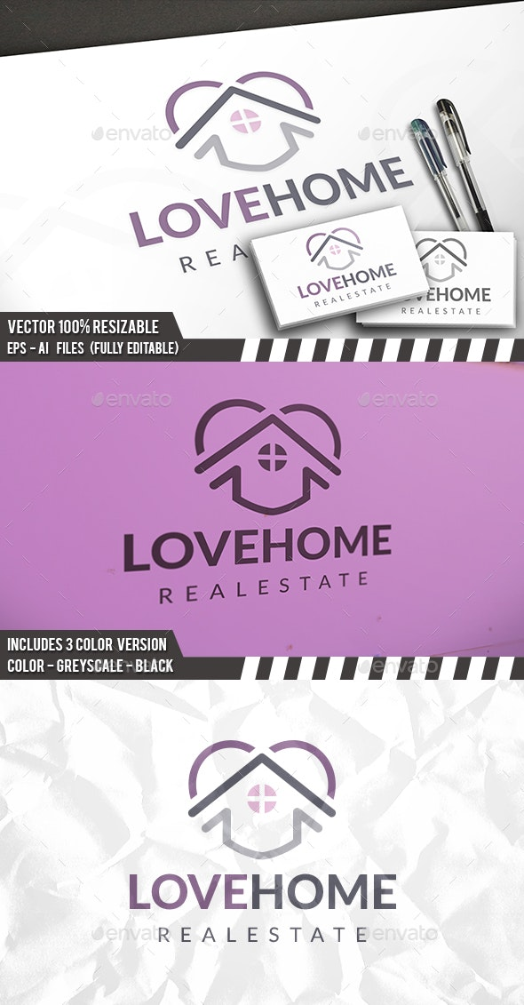 Heart House Logo Template - Buildings Logo Templates