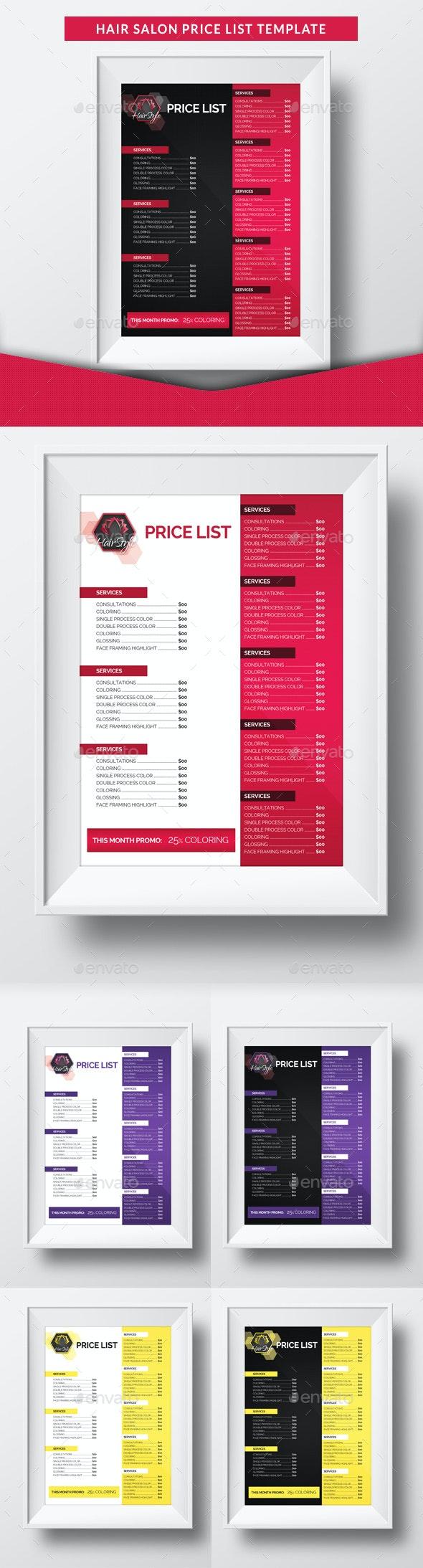 Hair Salon Price List Template - Miscellaneous Print Templates