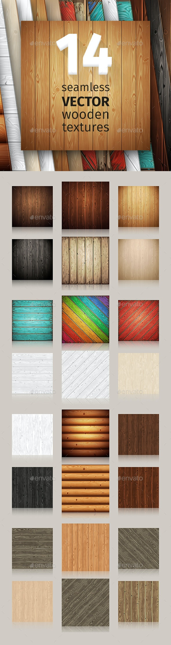 Wooden Seamless Patterns Set - Backgrounds Decorative