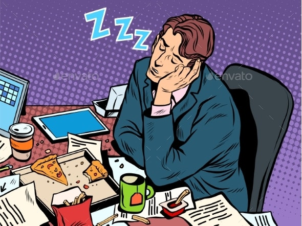 Man Businessman Sleeping on the Job - Concepts Business
