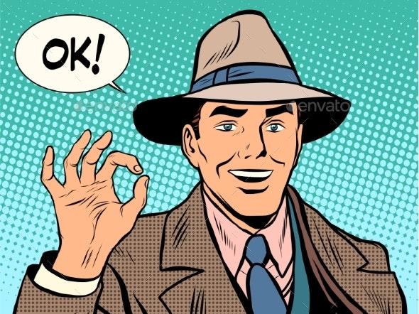 Businessman OK Gesture Retro Man - People Characters