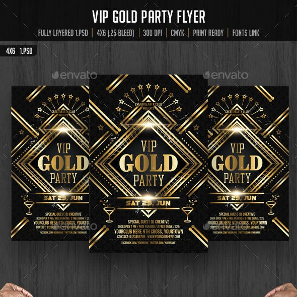 VIP Gold Party Flyer