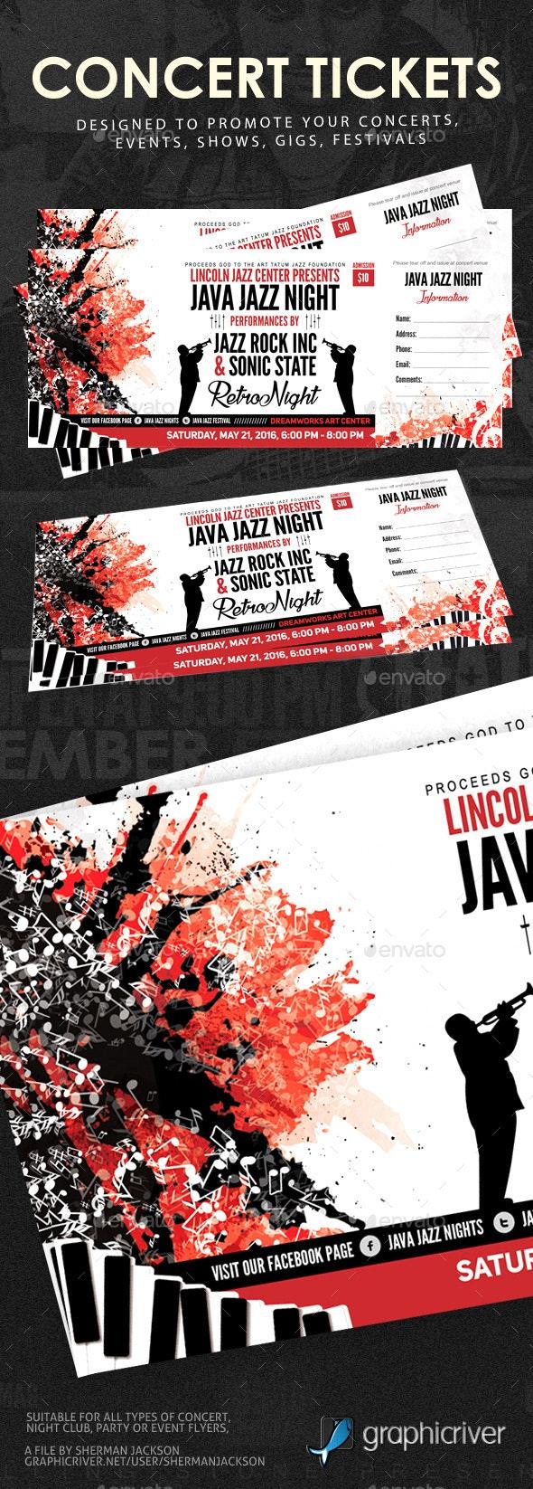 Concert Event Tickets - Miscellaneous Print Templates