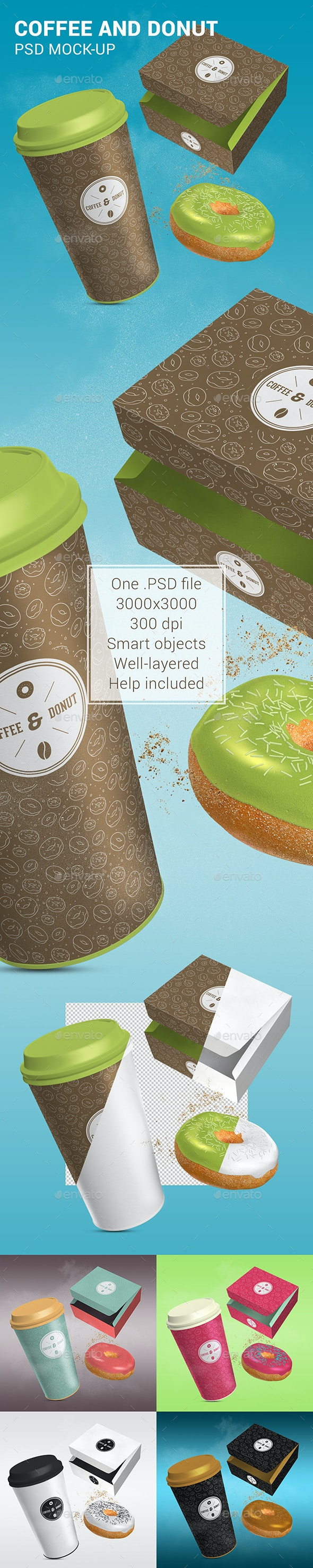 Coffee and Donut Mock-Up - Food and Drink Packaging