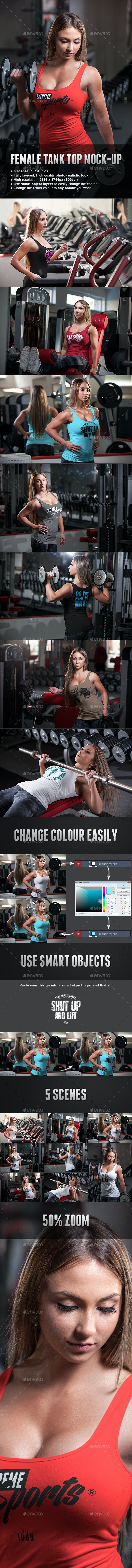 Female Fitness Gym Tank Top T-shirt Mock-up - T-shirts Apparel