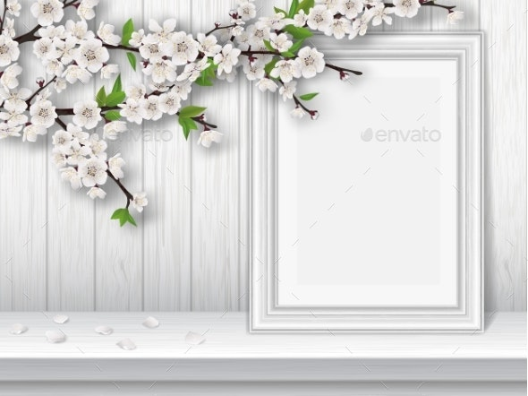 Spring Cherry Branch and Photo Frame on Table - Flowers & Plants Nature
