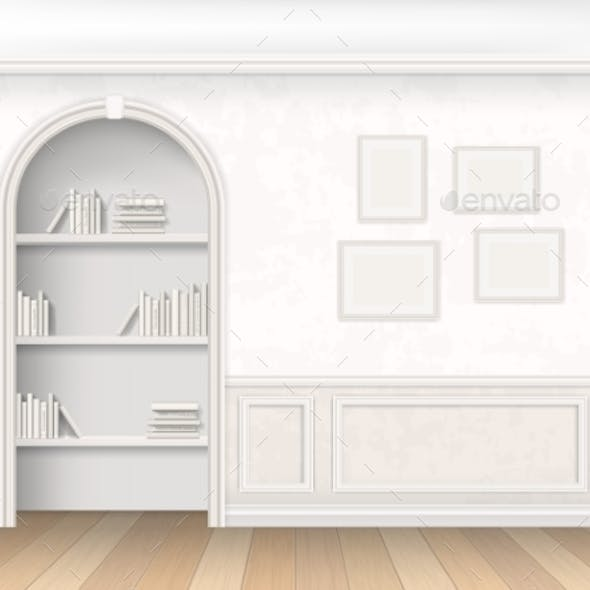 Niche with Books on Shelves