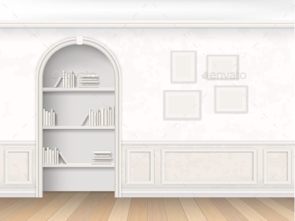 Niche with Books on Shelves - Buildings Objects