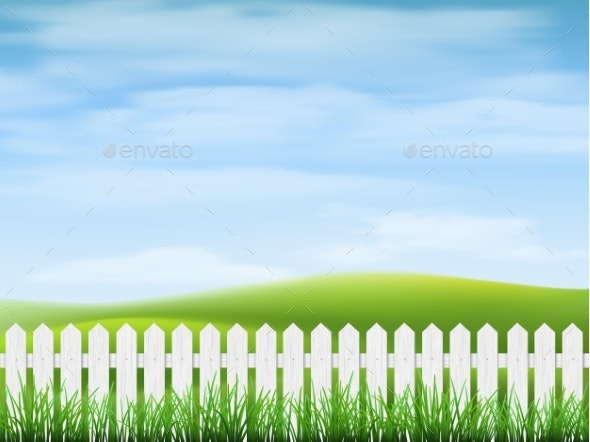 Rural Landscape with Grass and Fence - Landscapes Nature