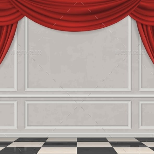 Wall Decorated Moulding Panels and Curtain