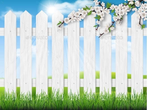 Wooden Fence Spring Tree Grass - Landscapes Nature