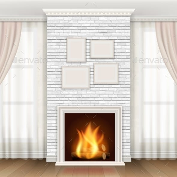 Interior with Fireplace aAnd Windows Curtains