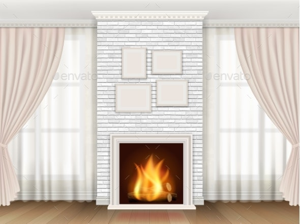 Interior with Fireplace aAnd Windows Curtains - Buildings Objects