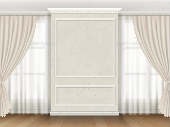 Interior with Panel Moldings and Windows Curtains - Buildings Objects
