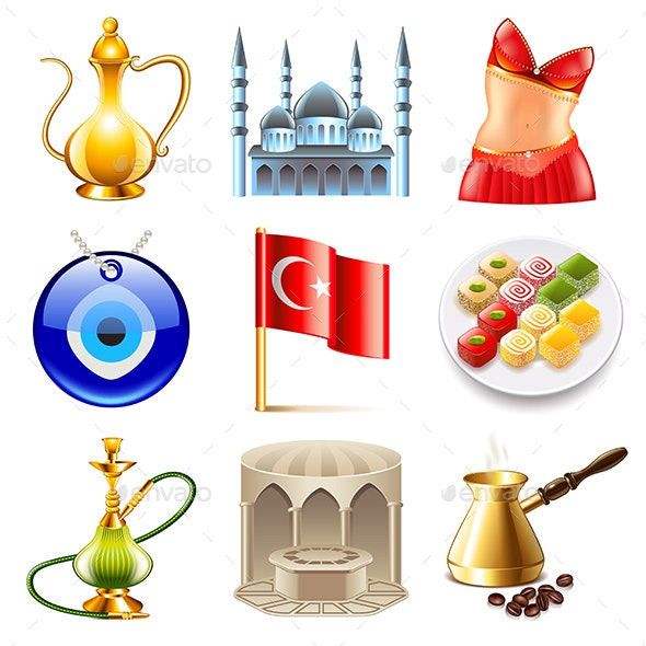 Turkey Travel Icons Vector Set - Travel Conceptual