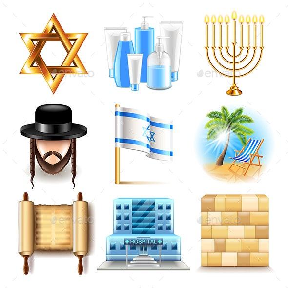 Israel Icons Vector Set - Travel Conceptual