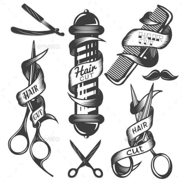 Set of Hair Salon Vintage Labels