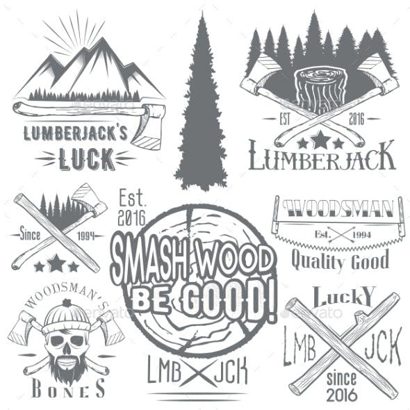 Set of Lumberjack and Woodsman Vectors