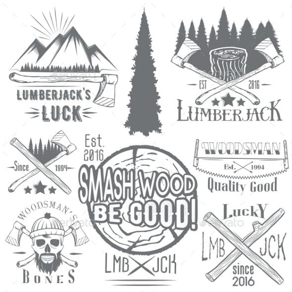 Set of Lumberjack and Woodsman Vectors - Decorative Symbols Decorative