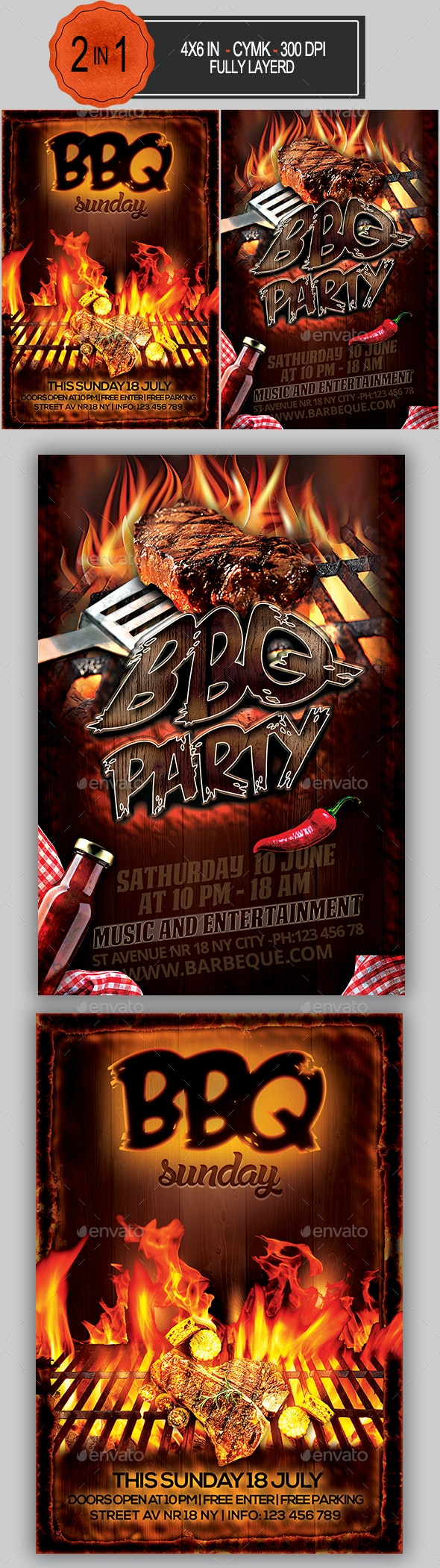 BBQ Flyer Bundle - Clubs & Parties Events