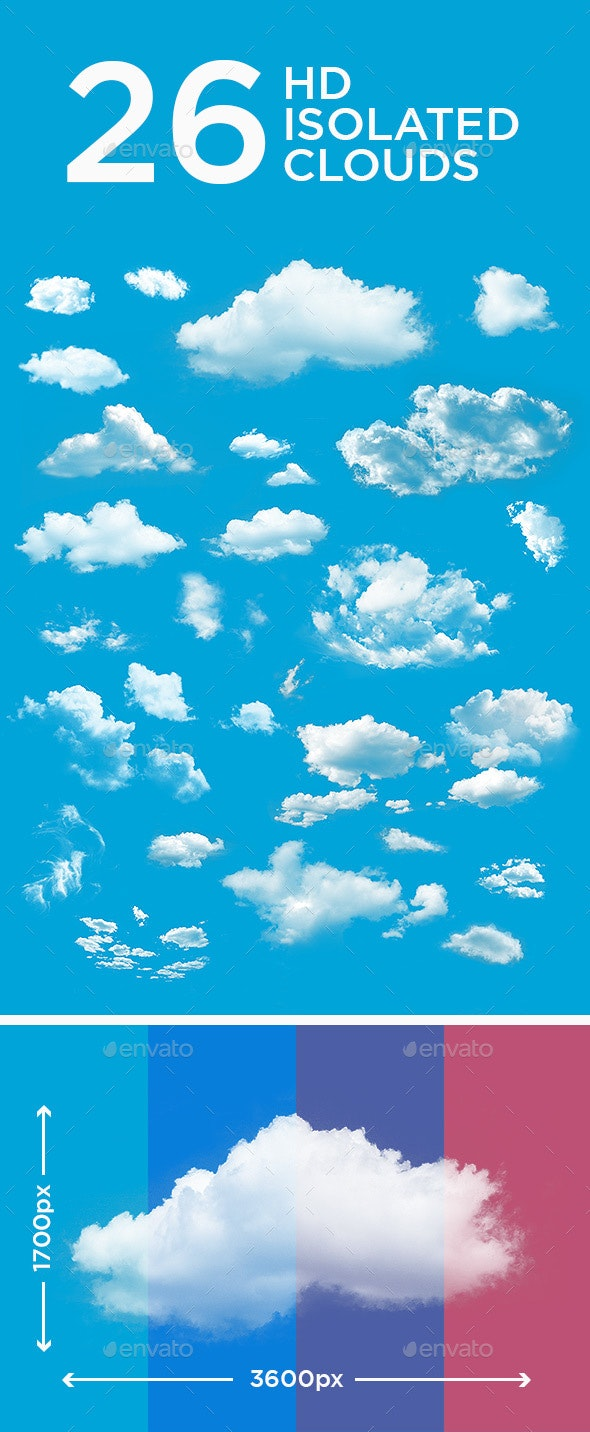 26 High Resolution Isolated Clouds  - Nature Backgrounds