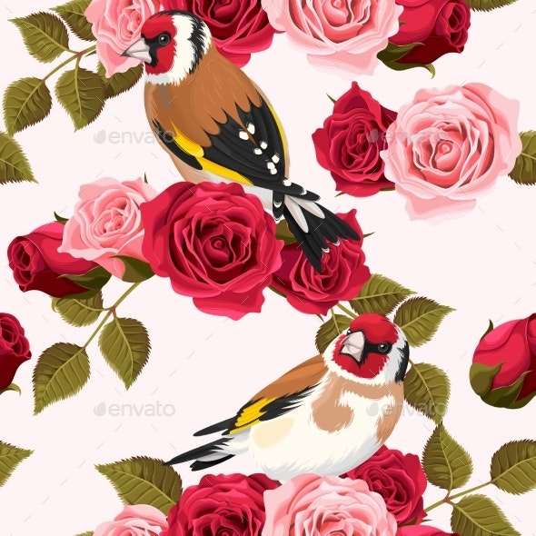Seamless Goldfinch and Roses - Flowers & Plants Nature