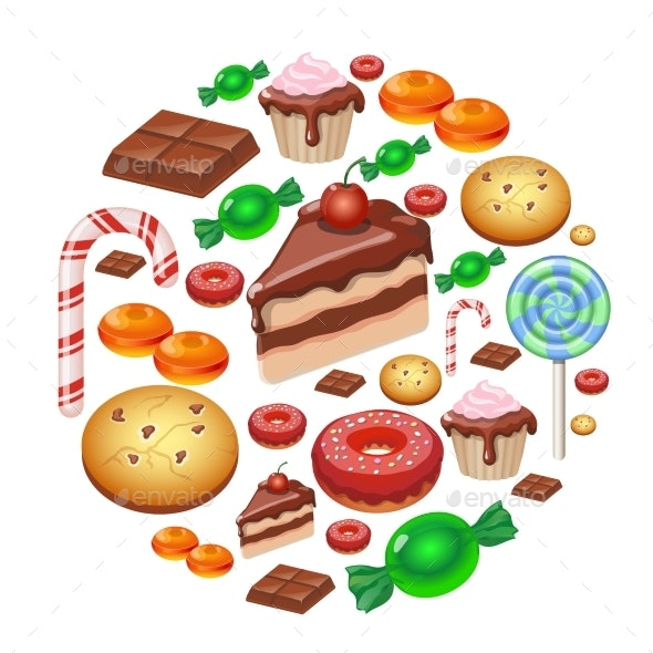 Assorted Sweets Colorful Background with Dessert - Food Objects