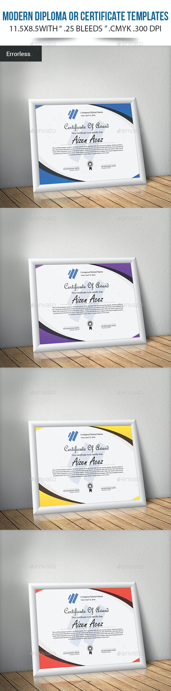 Modern Diploma or Certificate Templates - Certificates Stationery