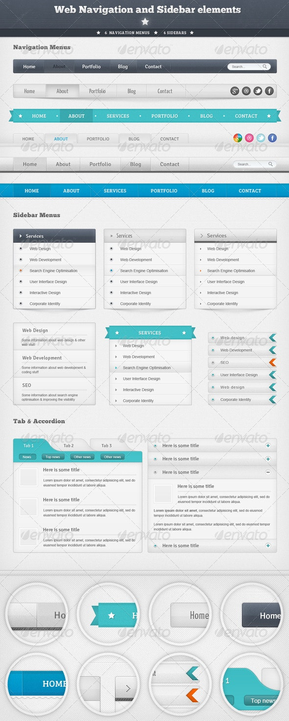 Web Navigation and Sidebar Elements - Navigation Bars Web Elements