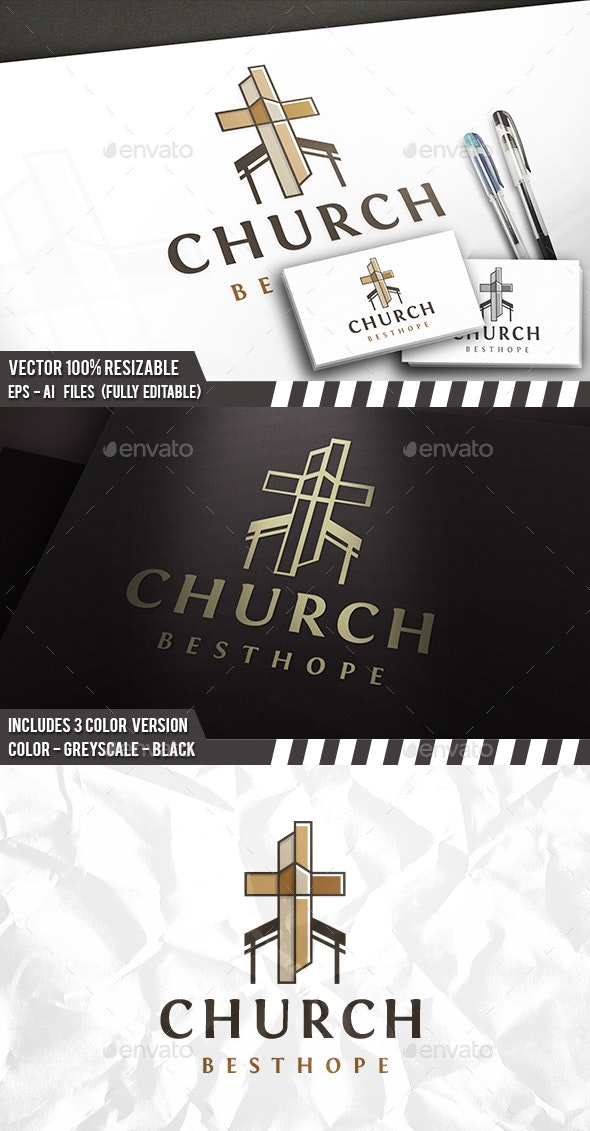 Cross Church Logo - Buildings Logo Templates