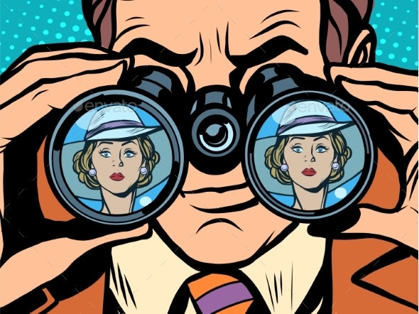 Love Couple Man Woman Binoculars - Weddings Seasons/Holidays