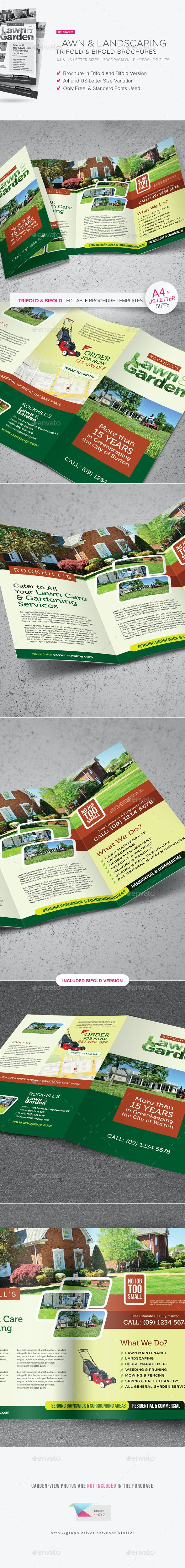 Lawn & Landscaping Trifold and Bifold  Brochure Templates - Corporate Brochures