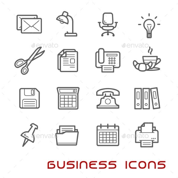 Business And Office Thin Line Icons
