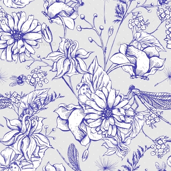 Vintage Garden Flowers Seamless Pattern - Flowers & Plants Nature