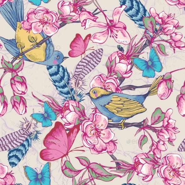 Vintage Garden Spring Seamless Pattern - Flowers & Plants Nature