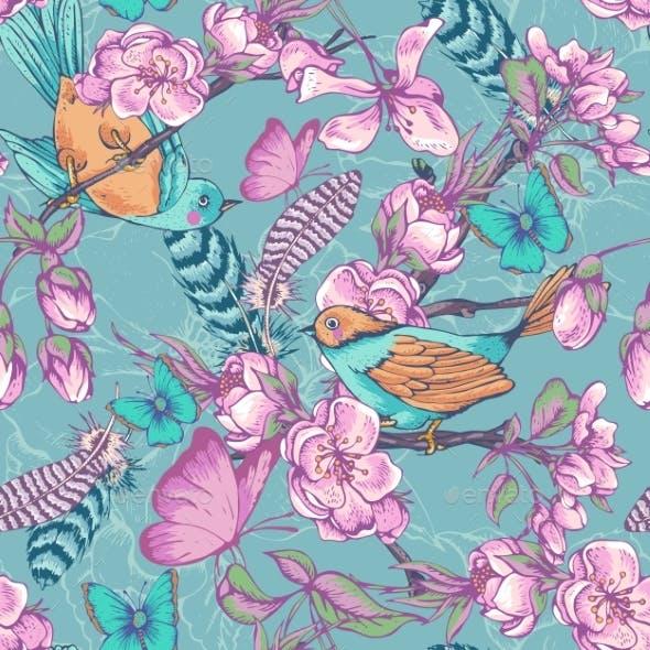 Vintage Garden Spring Seamless Pattern
