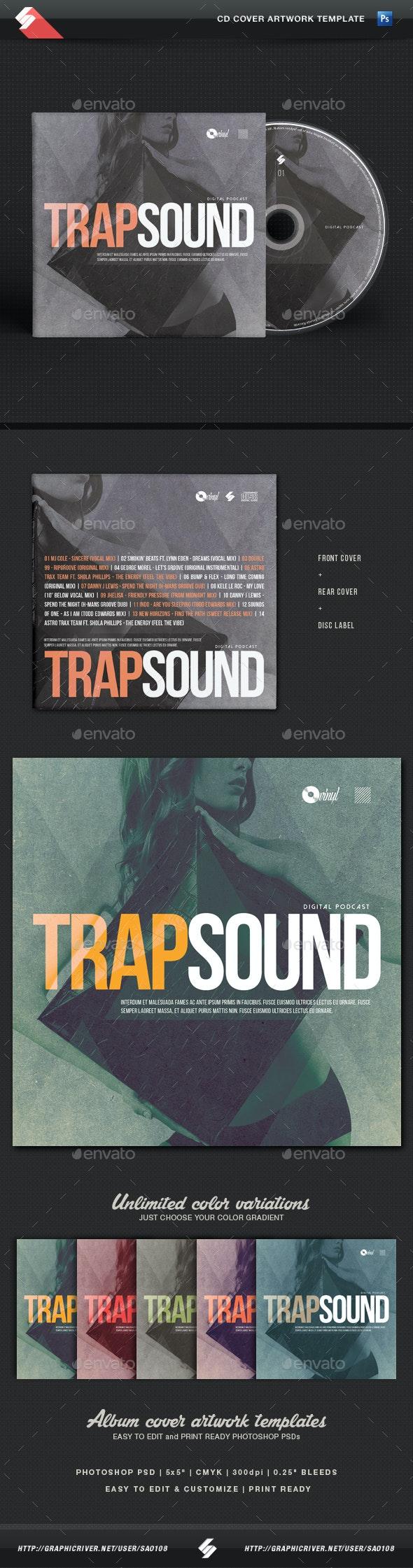 Trap Sound - CD Cover Template - CD & DVD Artwork Print Templates
