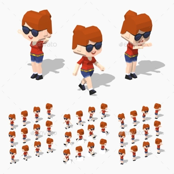 Low Poly Redhead Girl - People Characters