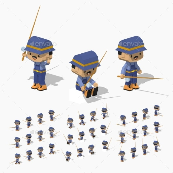 Low Poly Fisherman - People Characters