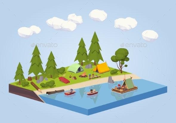 Campsite Near the River - Travel Conceptual