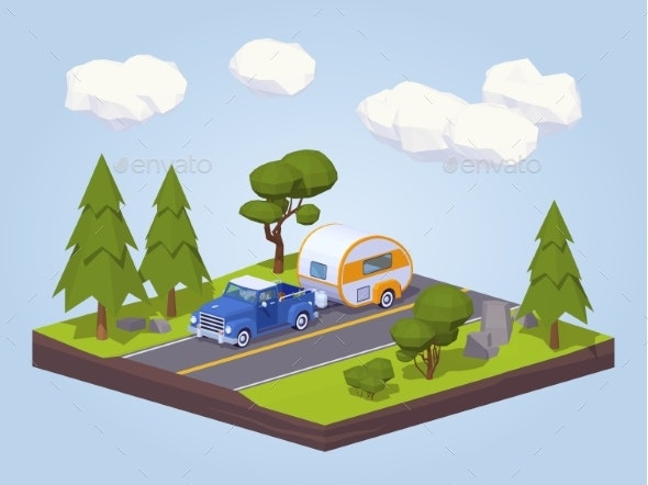 Pickup Truck with Trailer House on the Highway - Travel Conceptual