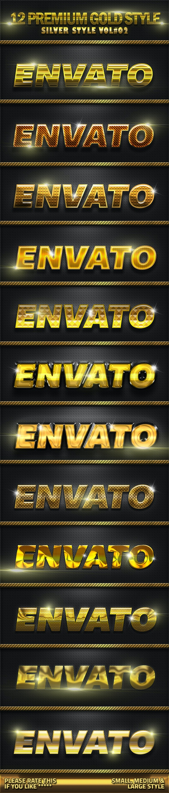 12 Metal Gold Photoshop Style V03 - Text Effects Styles