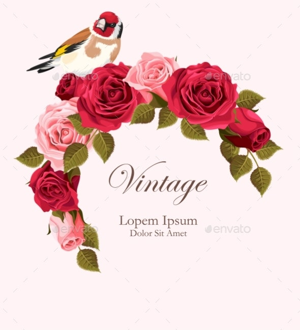 Vintage Card with Goldfinch - Flowers & Plants Nature