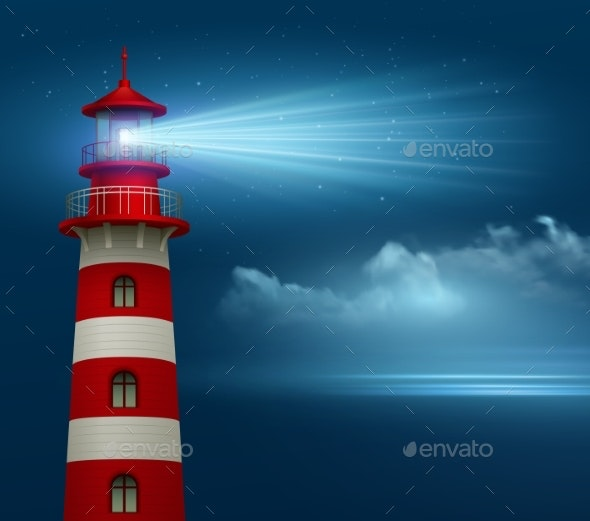 Realistic Lighthouse  In The Night Sky Background - Landscapes Nature
